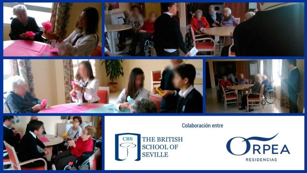 Segunda visita alumnos del CBS Colegio Británico de Sevilla a la residencia de la tercera edad Orpea en Bormujos