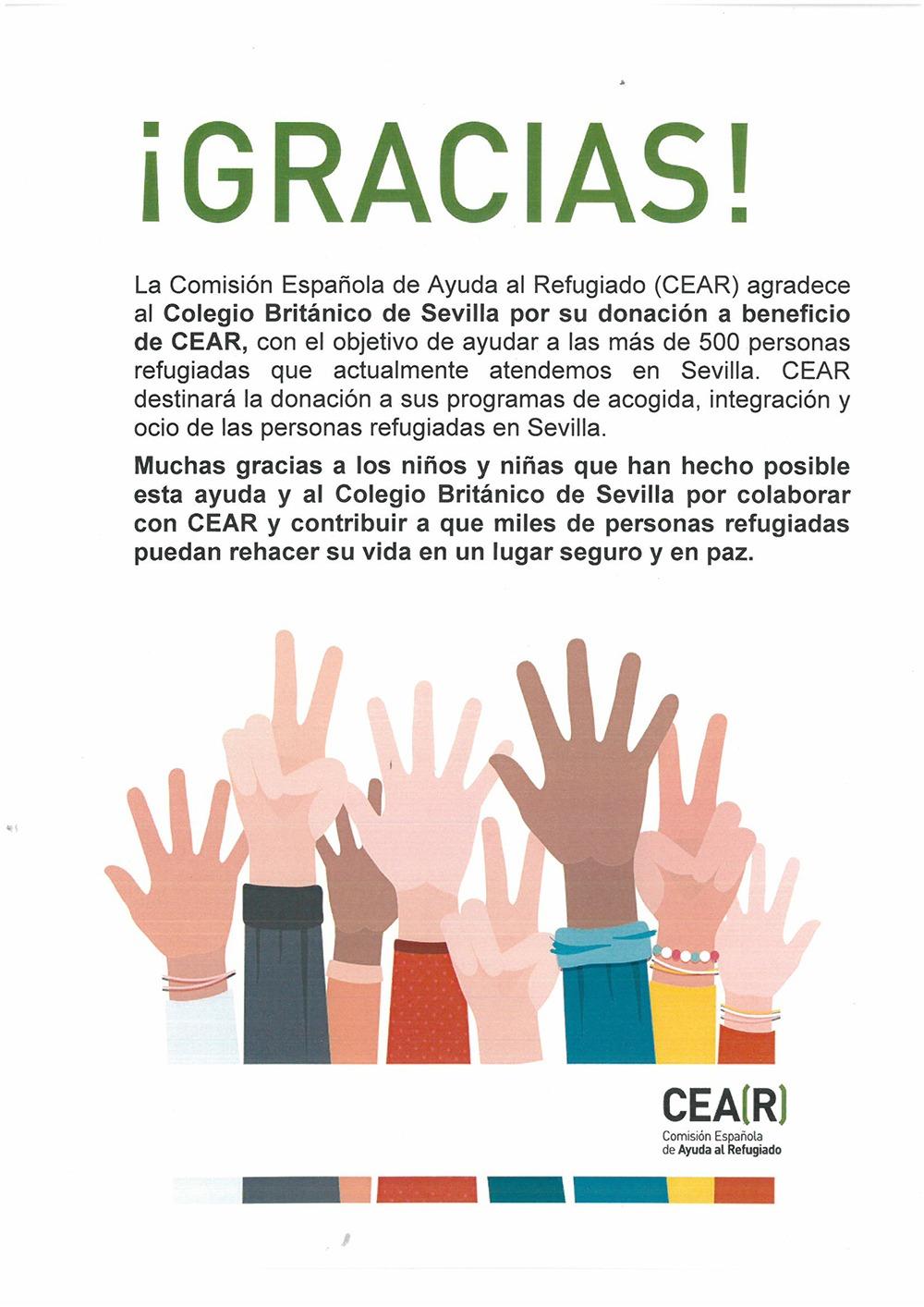 Agradecimiento de CEAR al CBS Colegio Británico de Sevilla por ayudas a los refugiados