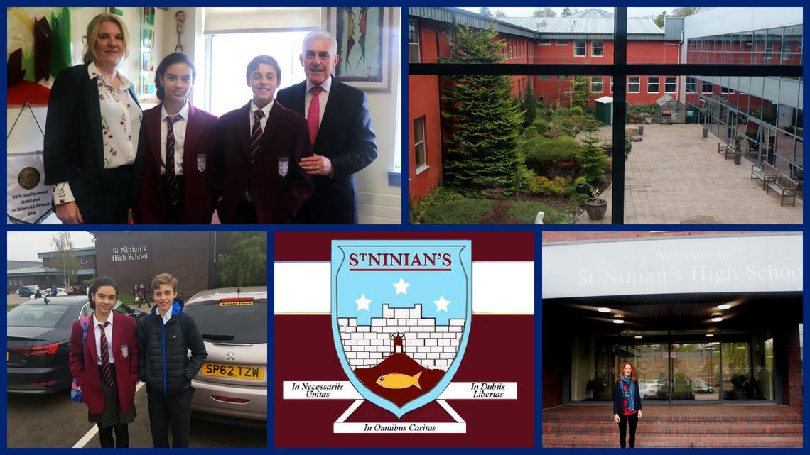 Samantha Clewer, Deputy Principal, visita St Ninians High School in Giffnock, Glasgow, Escocia