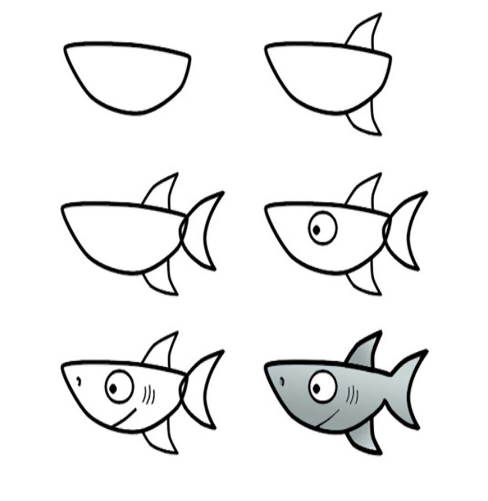 Cómo dibujar un tiburón de forma fácil