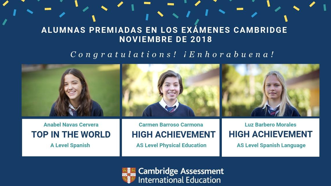 Tres alumnas del CBS reciben Premios Cambridge en Exámenes Noviembre 2018