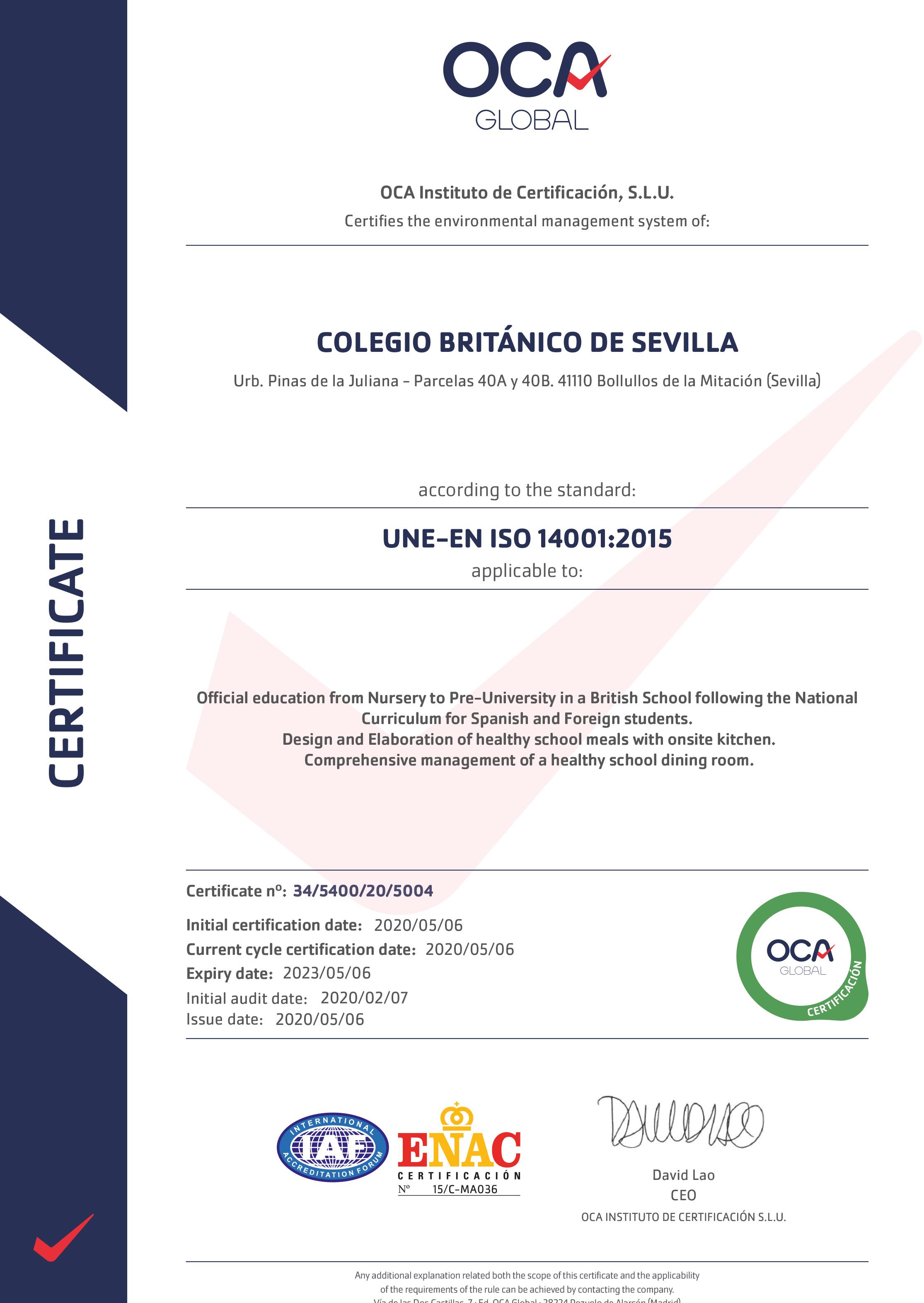 Certificado-OCA-Calidad-ISO-14001-Colegio_britanico_sevilla_ENG