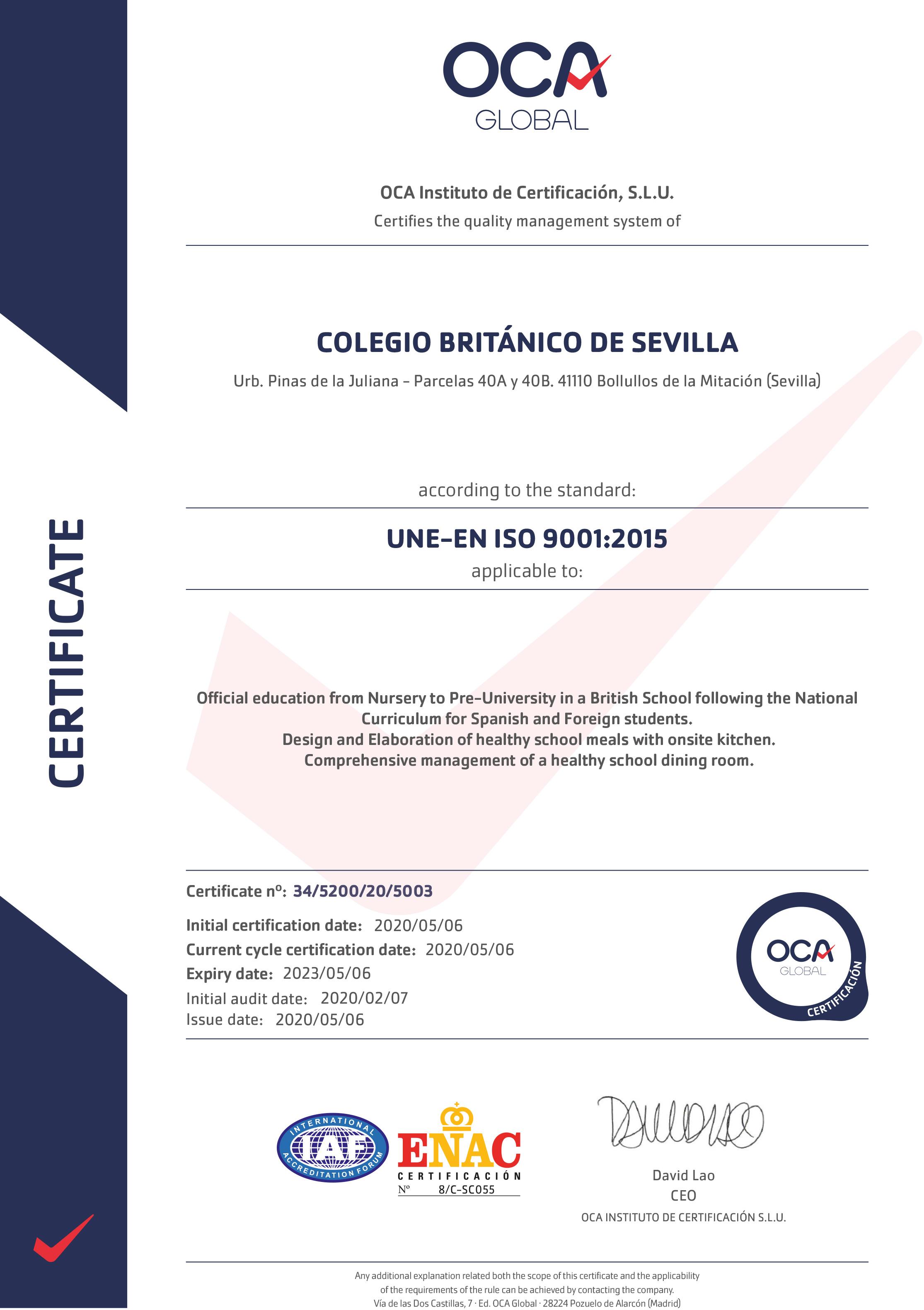 Certificado-OCA-Calidad-ISO-9001-Colegio_britanico_sevilla_ENG